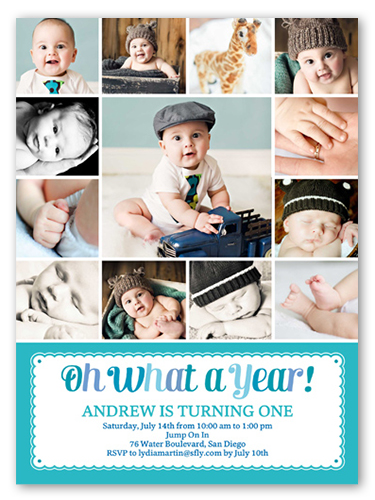 Brilliant What A Year Boy First Birthday Invitation Shutterfly Funny Birthday Cards Online Alyptdamsfinfo