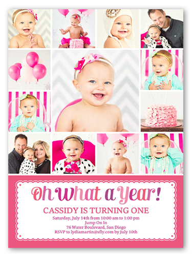 What A Year Girl Birthday Invitation 6x8 Flat