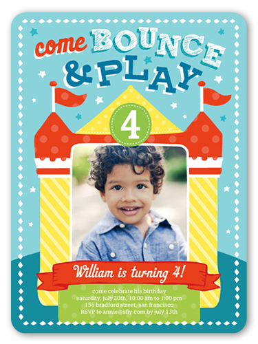Bounce House Fun Birthday Invitation, Rounded Corners