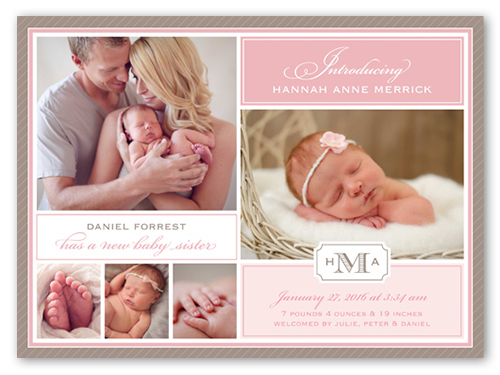 Scripted Introduction X Baby Girl Birth Announcement Cards - Girl birth announcements