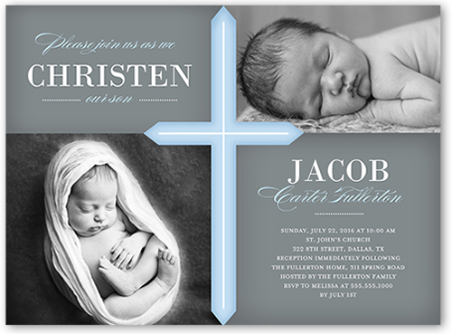 Glorious Cross Boy Baptism Invitation by Stacy Claire Boyd