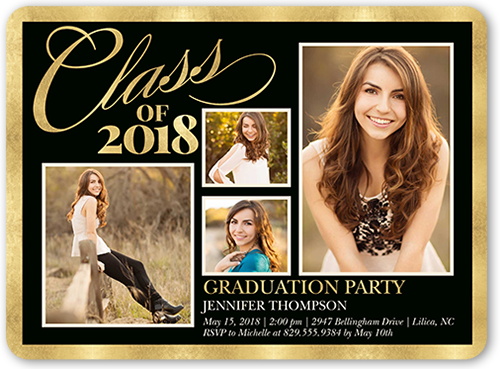 Brilliant Class Border 6x8 Graduation Party Invitations Shutterfly