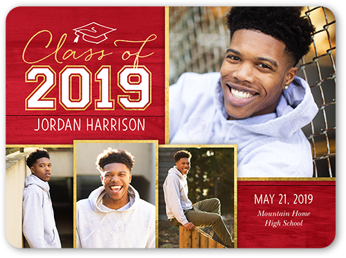 Simple Class Year Graduation Announcement, Rounded Corners
