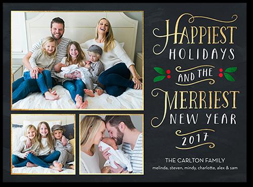 Merry Swirled Greeting Holiday Card