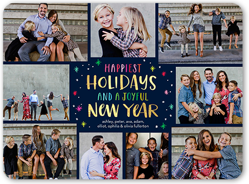 Fun Falling Flakes Holiday Card, Rounded Corners