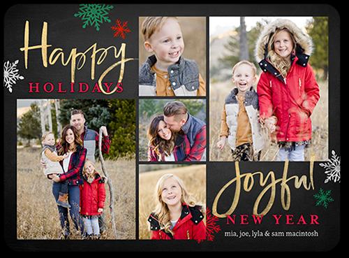 Rustic Joyful Season Holiday Card, Rounded Corners