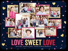 hearts confetti valentines card 6x8 flat
