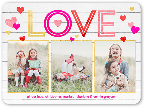 Woodgrain Love Valentine's Card, Rounded Corners