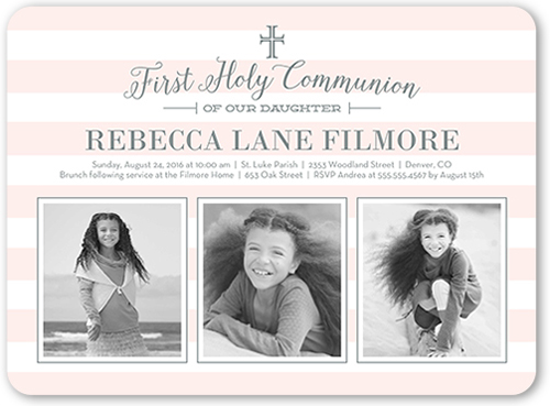 Sacred Cross Girl Communion Invitation by Stacy Claire Boyd