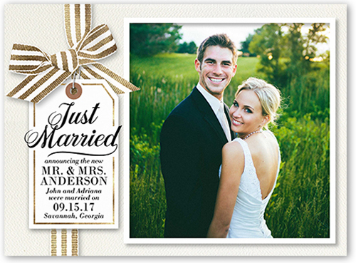 Just Married Ribbon Wedding Announcement
