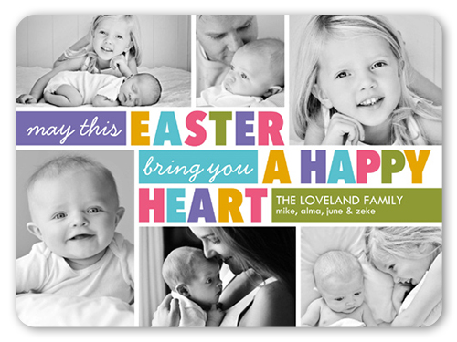 Happy Heart Collage Easter Card, Rounded Corners
