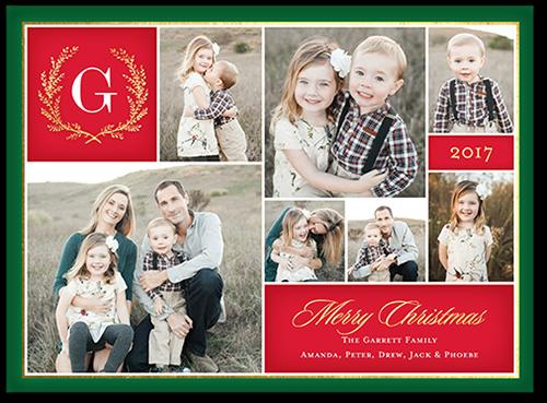 Merry Monogram Gallery Christmas Card, Square Corners