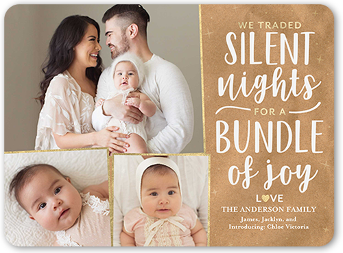 Silent Bundle Of Joy Christmas Card, Rounded Corners