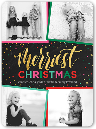 Colorful Framed Greeting Christmas Card, Rounded Corners