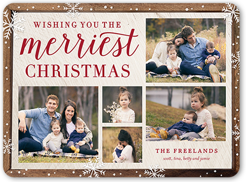 Wishing You Flurry Frame Christmas Card, Rounded Corners