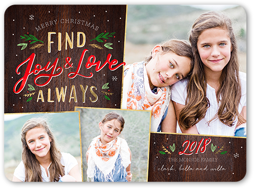 Find Joy And Love Christmas Card, Rounded Corners