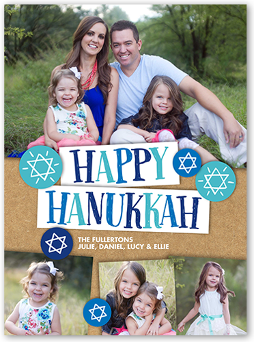 Happy Circled Stars Hanukkah Card