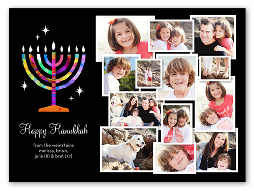 Rainbow Menorah Hanukkah Card