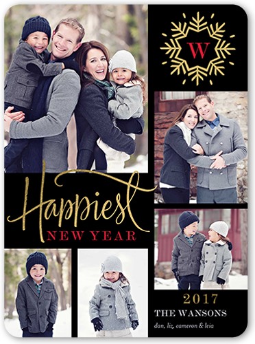 Radiant Snowflake New Year's Card