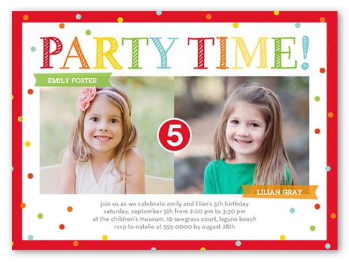 Bright Party Time Twin Birthday Invitations Shutterfly