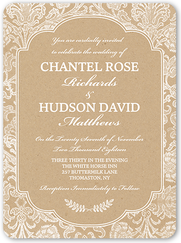 kraft damask 6x8 wedding invitations shutterfly