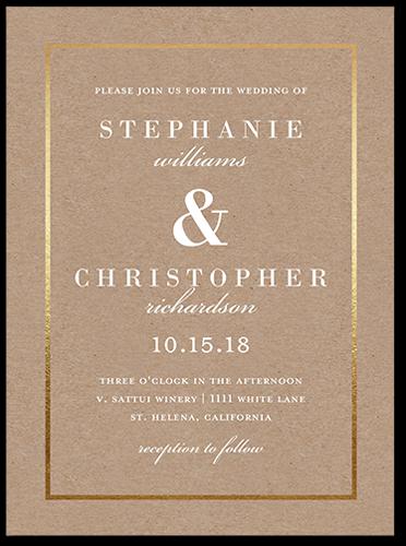 Simple Solid Frame Wedding Invitation, Square Corners