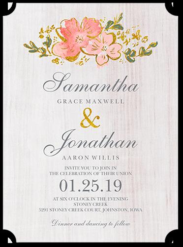 Rustic Florals Wedding Invitation, Ticket Corners