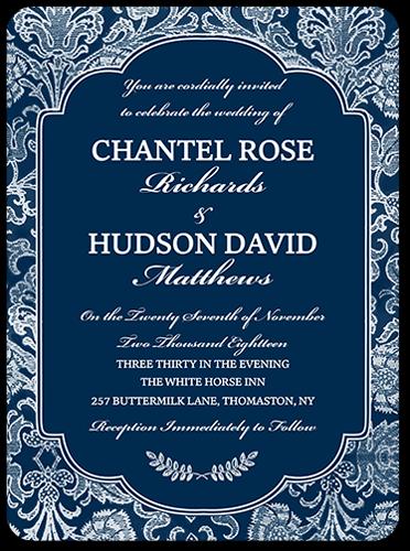 Damask Romance Wedding Invitation, Rounded Corners