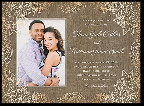 Floral Union Wedding Invitation, Square Corners