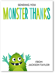 monster thanks thank you card