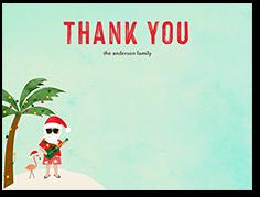 tropical santa thank you card