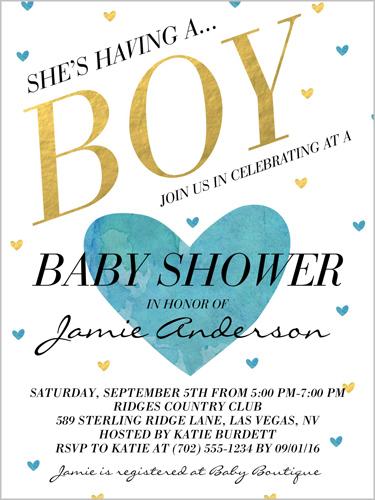 Celebrating A Boy Baby Shower Invitation, Square