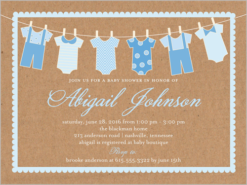 Clothes Line Boy 4x5 Greeting Card Baby Shower Invitations