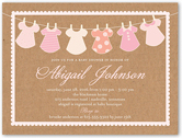 clothes line girl baby shower invitation 4x5 flat