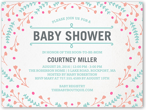 Floral Swirl Baby Shower Invitation