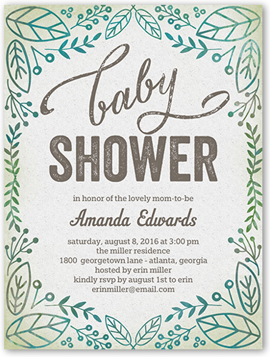 Organic Shower 4x5 Custom Baby Shower Invitations Shutterfly