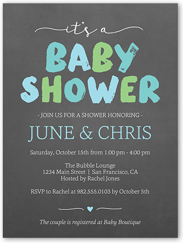 Brushed Letters Boy Baby Shower Invitation, Square