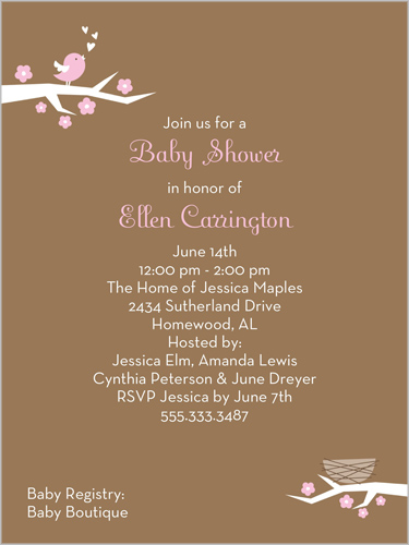 singing bird pink x invitation  baby shower invitations, Baby shower invitations