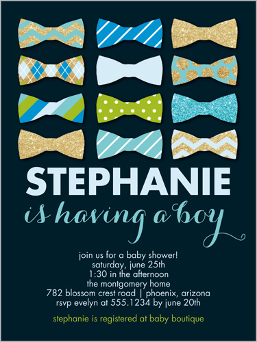 Bow tie sparkle 4x5 custom baby shower invitations shutterfly bow tie sparkle baby shower invitation visible part transiotion part front filmwisefo
