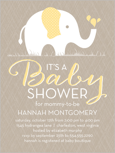 Patterned Elephant 4x5 Gender Neutral Baby Shower Invitations
