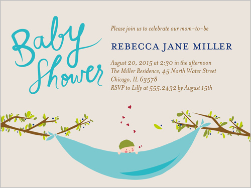 Baby Hammock 4x5 Greeting Card Baby Shower Invitations Shutterfly