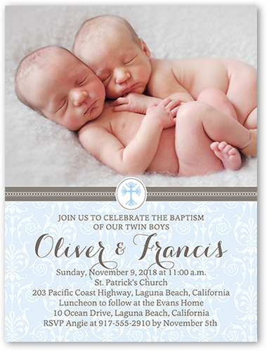 Faithful damask twin boys 4x5 invitation baptism invitations faithful damask twin boys baptism invitation stopboris