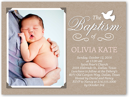 Crafty Dove Girl Baptism Invitation, Square
