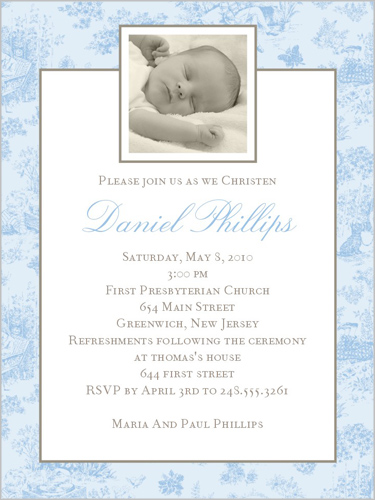 Jolie Bebe Blue Baptism Invitation