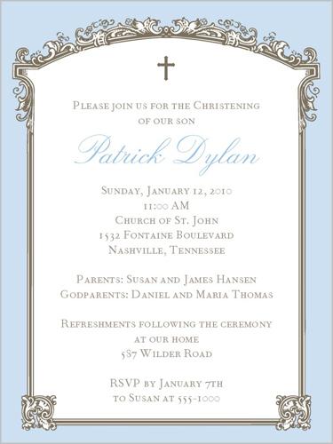 Baptism Trumeau Blue Baptism Invitation