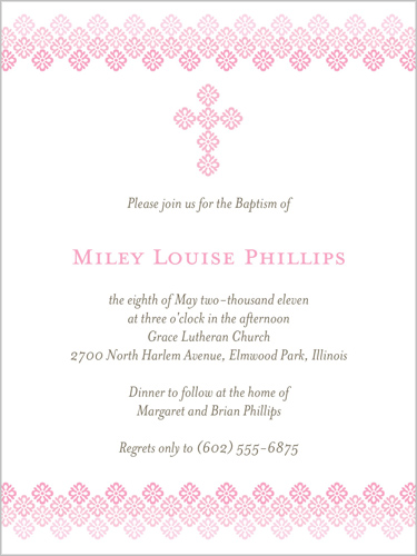 Filigree Cross Rose 4x5 Invitation Baptism Invitations Shutterfly
