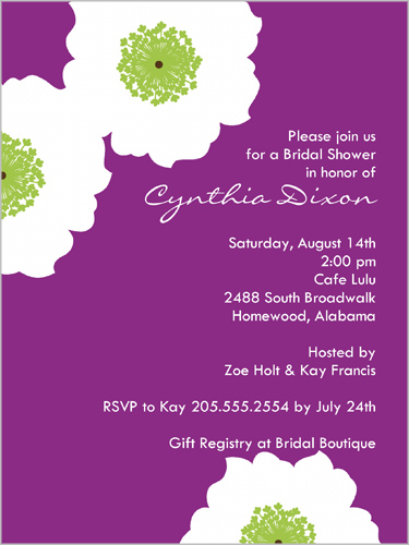 Rosey Posey Plum Bridal Shower Invitation