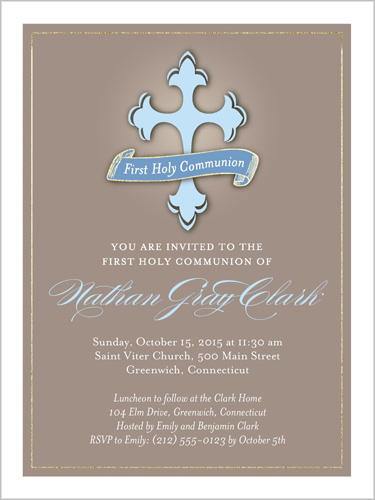 Radiant Elegance Boy Communion Invitation, Square