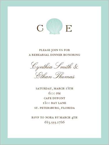 Seashell Monogram Rehearsal Dinner Invitation, Square
