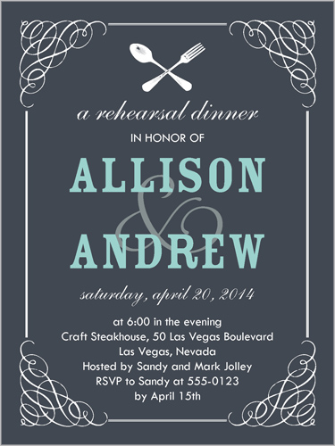 Flourished Flatware Rehearsal Dinner Invitation, Square